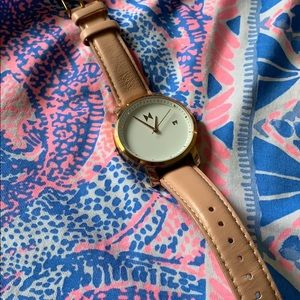 MVMT Peach/Rose Gold Women's Leather Watch